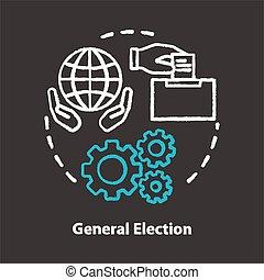 icon., choix, public, parties., tableau, idea., concept, vote, choisir, referendum, decision., illustration., craie, isolé, élections, politique, général, élection, candidats, vecteur