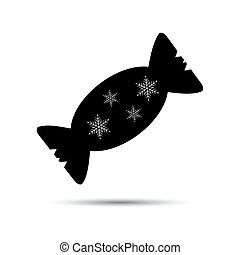 Icon Christmas candy black on a white background