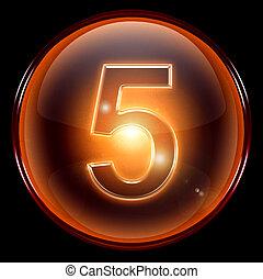 icon., cinq, nombre