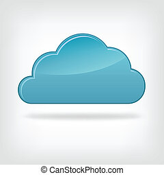 Icon Cloud on Grey Gradient Background. Vector.