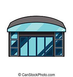 icon., colección, ventana de la tienda, web., símbolo, ilustración, vector, acción, emporio