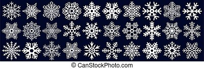 Icon collection of many different snowflakes - Vector illustration