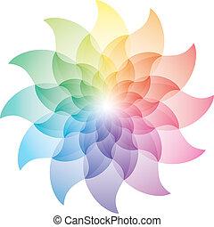 icon., color, rueda, loto, hermoso, flor