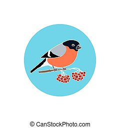 Icon Colorful Bullfinch, Round Icons Colorful Bullfinch, ...