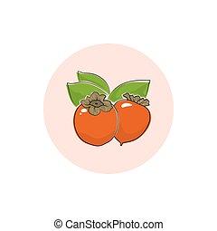 Icon Colorful Persimmon - Persimmon , Round Icon Colorful...