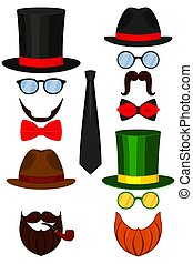 Icon colorful poster man father dad day avatar element set.