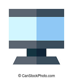 Icon computer in flat style. vector illustration and editable stroke. Isolated on white background.