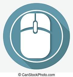 Icon Computer mouse on white circle with a long shadow
