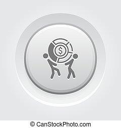 icon., conceito, mercado parte, negócio