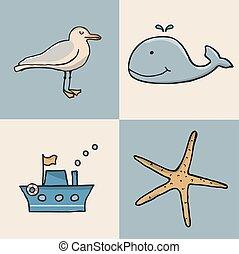 icon., conjunto, marina, caricatura