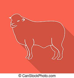 Icon Contour lamb. Flat style, long shadows. Vector...