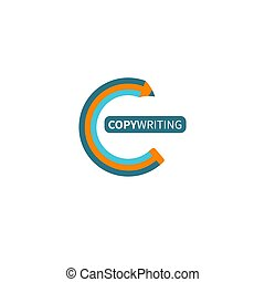 Icon copywriting. Logo copywriter. Curved pencil. Vector ...