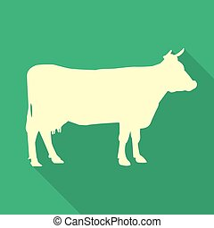 Icon cow on a green background in a flat design. Vector illustration