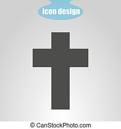Icon Cross on a gray background. Vector illustration. The symbol of Christianity