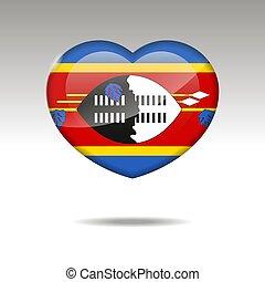 icon., cuore, amore, bandiera swaziland, simbolo.