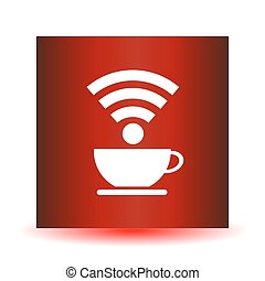Icon cup of coffee on a red background. wifi connection design, vector illustration