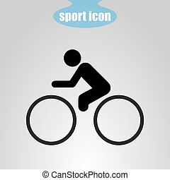 Icon cyclist on a gray background. Vector illustration