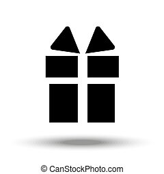 Icon depicting the silhouette of a celebratory gift in flat design in black.