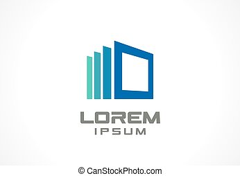 Icon design element. Abstract logo idea for business company. Construction, house, frame, windows, technology, internet concepts.