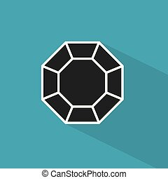 icon-, diamante, vettore, nero, illustrazione
