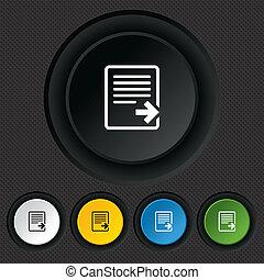 icon., dokument, exportera, symbol., fil