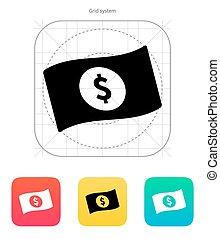 icon., dolar, banknot, znak