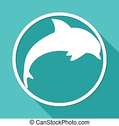 Icon dolphin on white circle with a long shadow