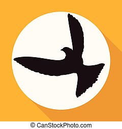 Icon Dove of Peace on white circle with a long shadow