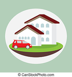 icon dream luxury house and car, business concept