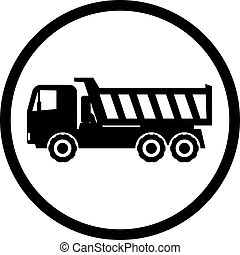 Icon dump truck with a straight cab on a white background