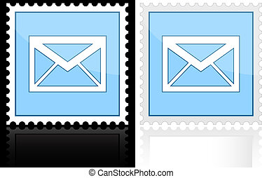Icon e-mail blue on a white background, vector illustration
