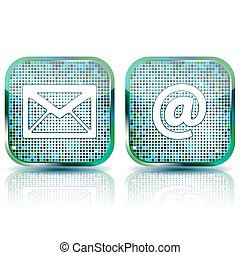 Icon e-mail glossy button, vector illustration