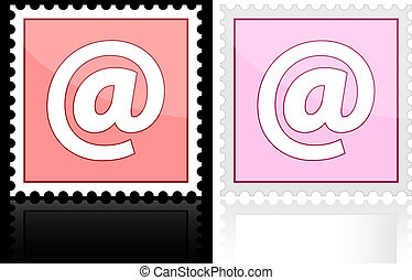 Icon e-mail pink on a white background, vector illustration