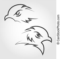 Icon eagle heads, outline style