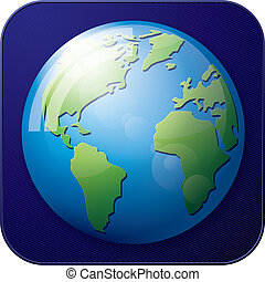 Icon Earth Globe - Vector app icon of Earth Globe for web...