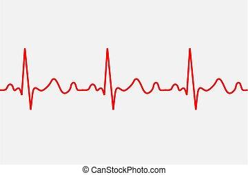 icon., ecg, latido del corazón, patología, rastro