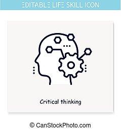 icon., editable, linea, critico, illustrazione, pensare
