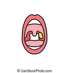 icon., egyenes, háló, nyit száj, aláír, szín, oldal, mozgatható, pharyngitis, app