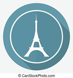 Icon Eiffel tower on white circle with a long shadow