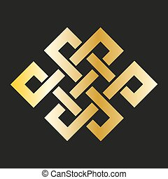 Icon endless knot in gold. Buddhist symbol - Icon endless...