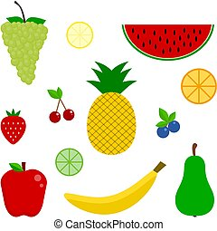 icon., ensemble, fruit