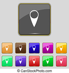 icon., ensemble, indicateur, buttons., emplacement, gps, symbole., carte, coloré