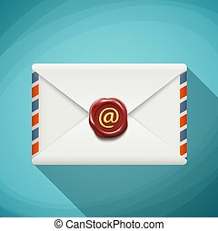 Icon envelope with wax seal. Sign email. Flat design. Stock vect
