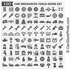 Icon - 100 icons of car mechanics tools and accessories.