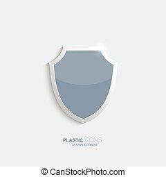 icon., escudo, plástico