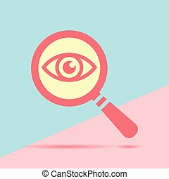 Icon eye with a magnifying glass on blue and pink pastel colored