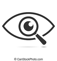 Icon eye with a magnifying glass on the white background