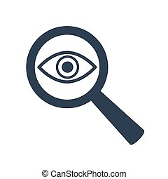 Icon eye with a magnifying glass on white background.