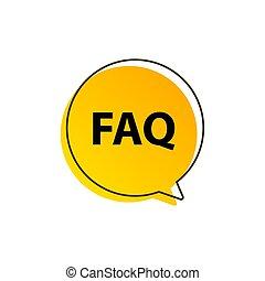 icon., faq, parole, information, plat, vecteur, aide, ...