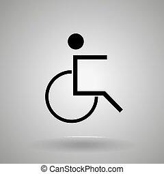 icon., fauteuil roulant, homme personne, handicapé, symbole
